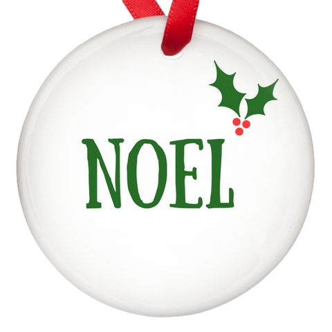Noel Holly Berry Christmas Porcelain Ornaments Single Sided
