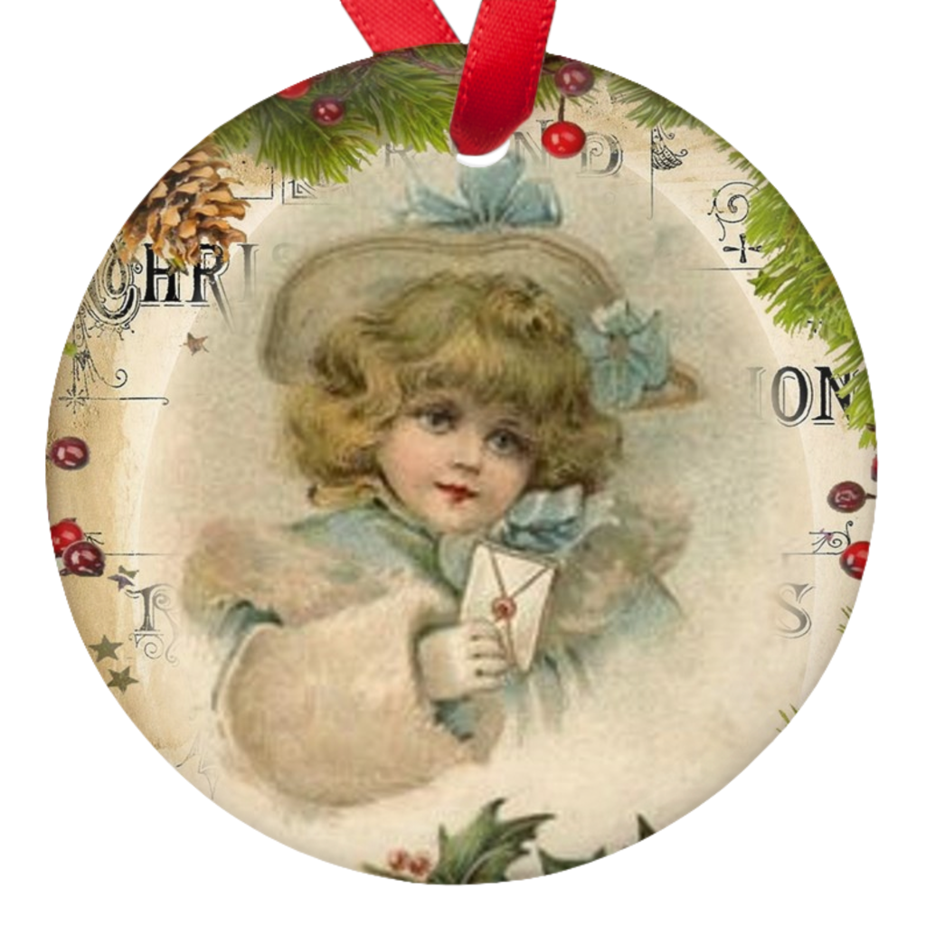 Vintage Christmas Card Porcelain Ornaments Double Sided