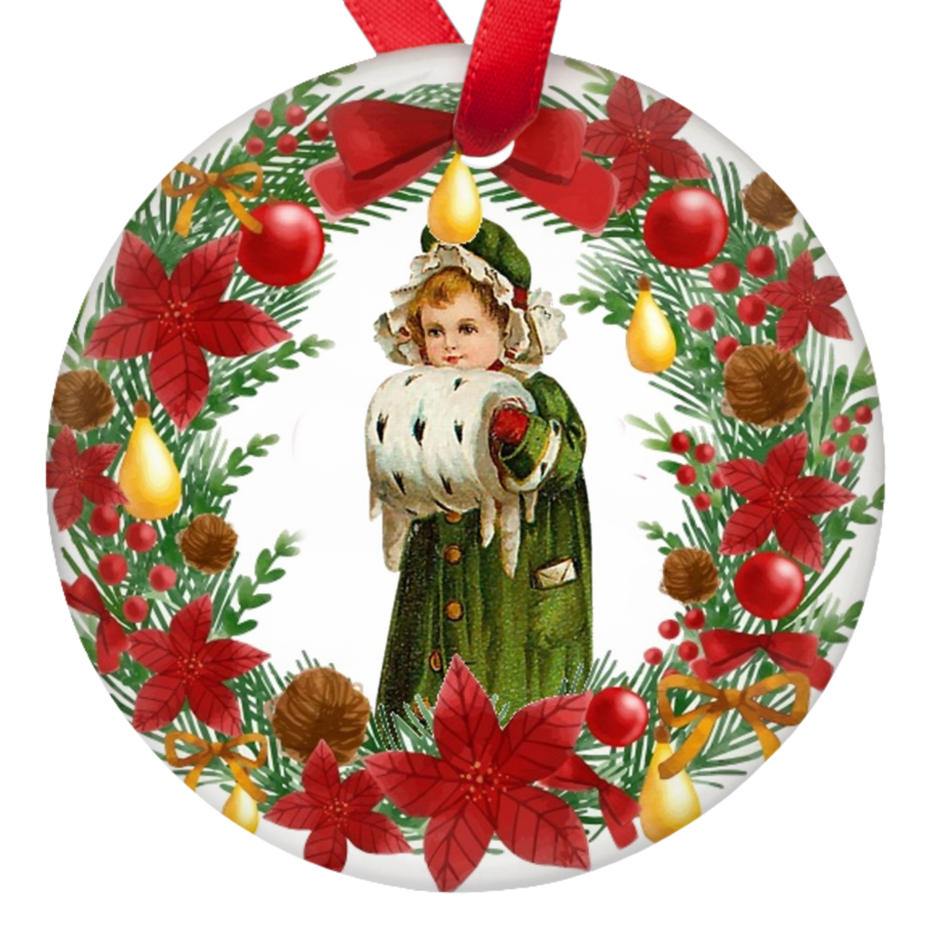 Vintage Christmas Wreath Porcelain Ornaments Double Sided