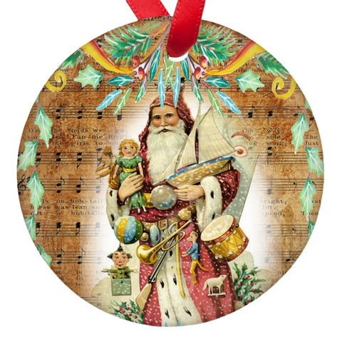 Vintage Santa Christmas Porcelain Ornaments Double Sided