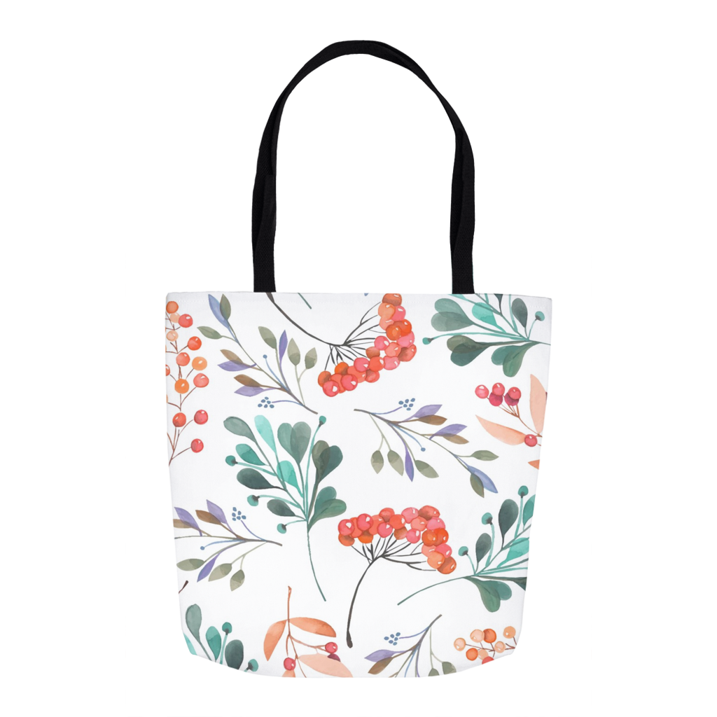 Summer Berries and Leaves Tote Bags
