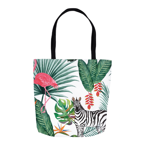 Tropical Zebra and Flamingo Tote Bag