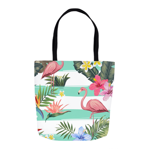 Tropical Flowers Flamingo Tote Bag