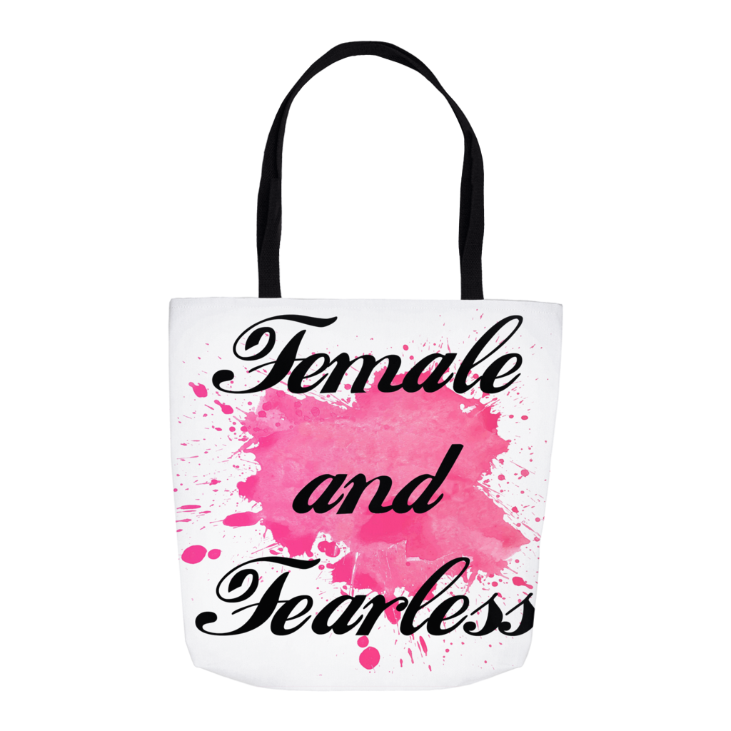 Female and Fearless Watercolor Tote Bag 16""
