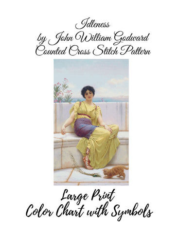Idleness by John William Godward Counted Cross Stitch Pattern INSTANT DOWNLOAD