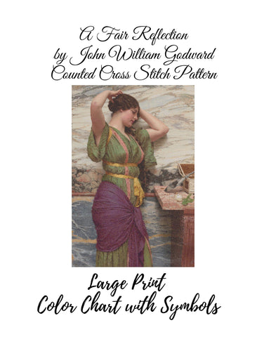A Fair Reflection by John William Godward Counted Cross Stitch Pattern INSTANT DOWNLOAD