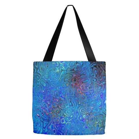 Blue Abstract Tote Bag 18 x 18""