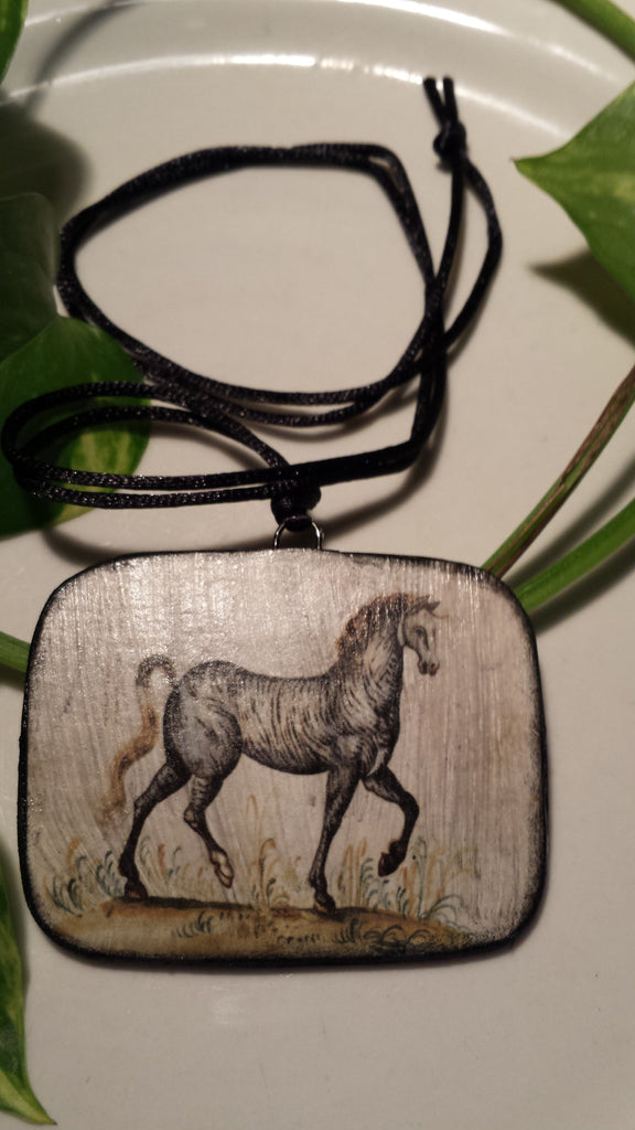 Vintage Horse Art Image Hand Made Paper Pendant