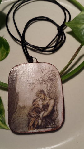 Brunnhilde and Siegfried Art Image by Arthur Rackham, Hand Made Paper Pendant