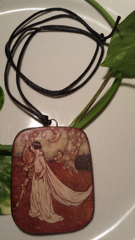 The Princess Wore Pearls to the Wedding  by Arthur Rackham, Hand Made Paper Pendant