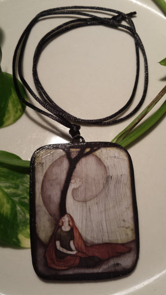 Fairy Tale Art Image by Jennie Harbor Hand Made Paper Pendant