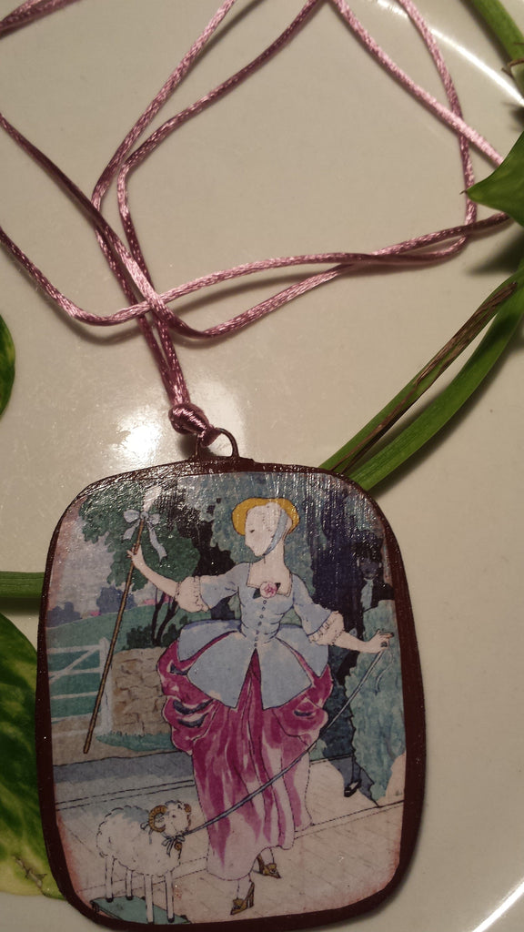 Vintage Little Bo PeepHand Made Paper Pendant
