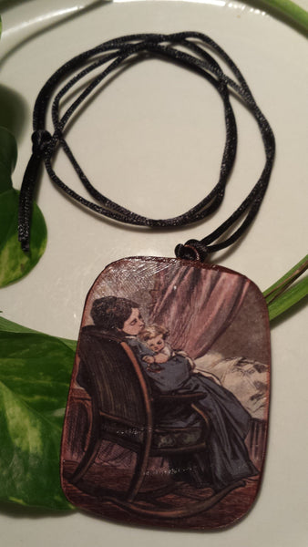 Vintage Mother and Child  Art Image Hand Made Paper Pendant