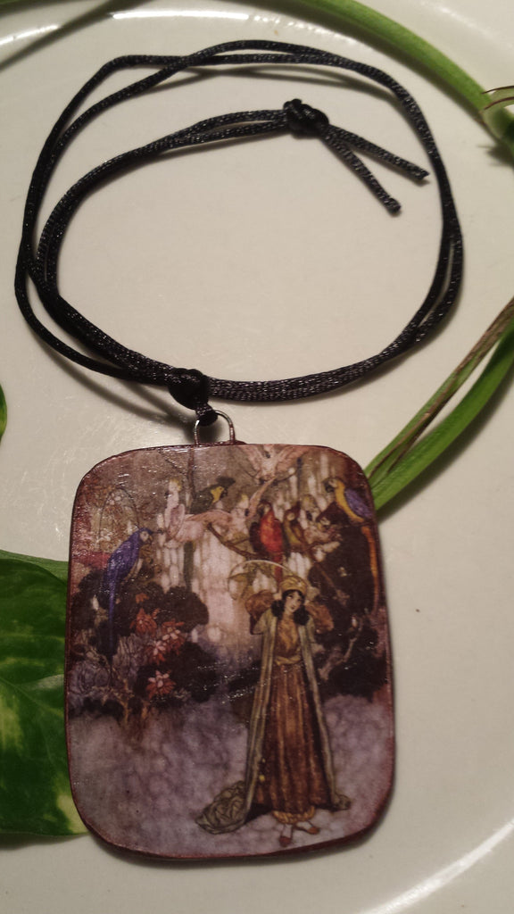 Beauty and the Parrots Art Image by Arthur Rackham, Hand Made Paper Pendant