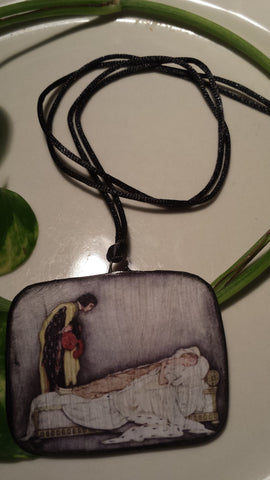 Sleeping Beauty by Jennie Harbor Hand Made Paper Pendant