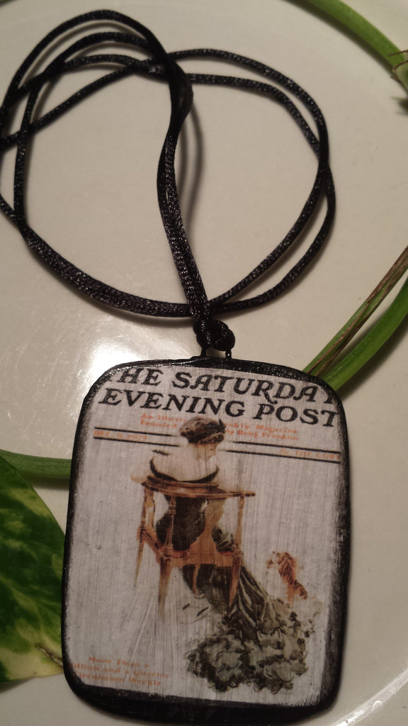 Saturday Evening Post Cover Hand Made Paper Pendant