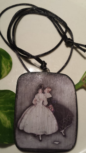 """The Letter"" Vintage Art Image by Jennie Harbor Hand Made Paper Pendant"