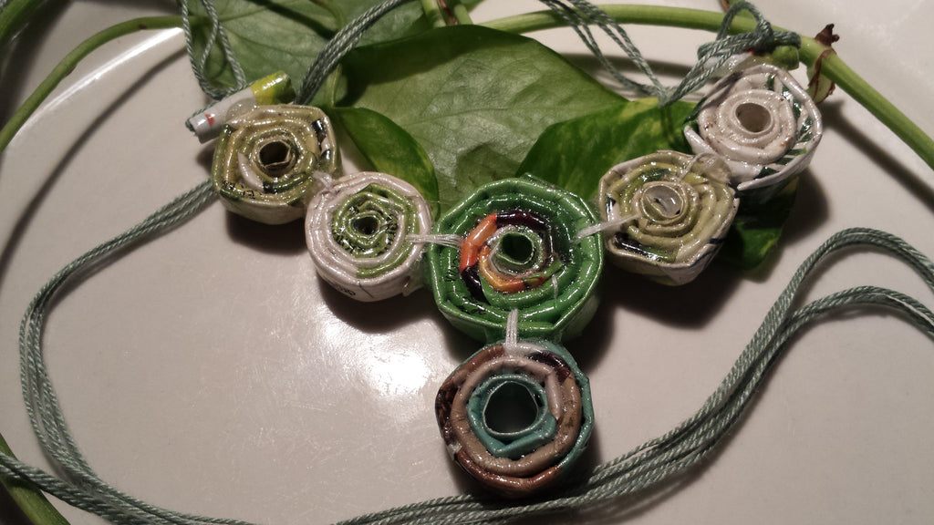 Hand Rolled Paper Upcycled/ Recycled Beaded Necklace OOAK