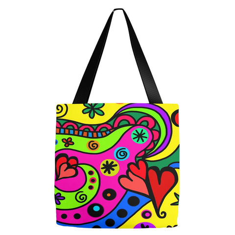 Abstract Hearts Tote Bag 18 x 18""