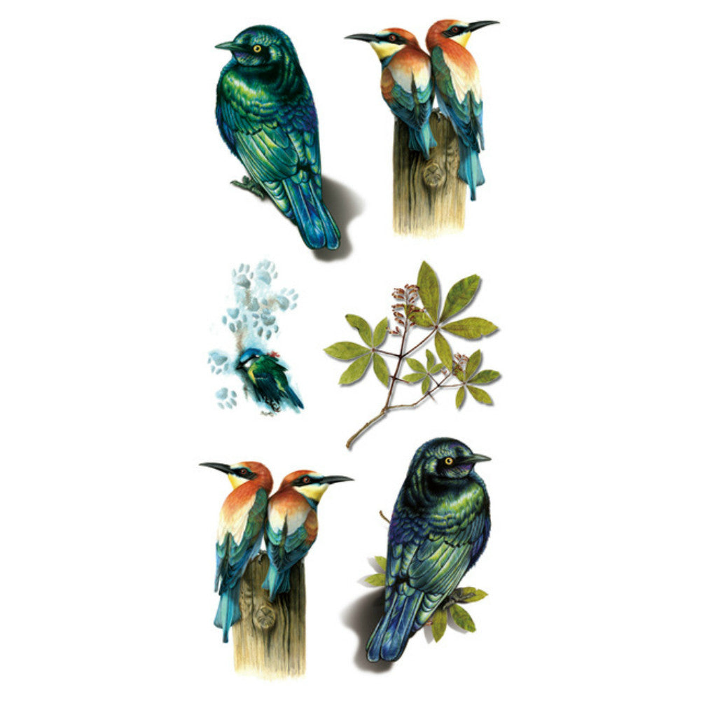 "3D Birds High Quality Water Transfer Waterproof Temporary Tattoo 3 1/2"" x 7 1/2"""