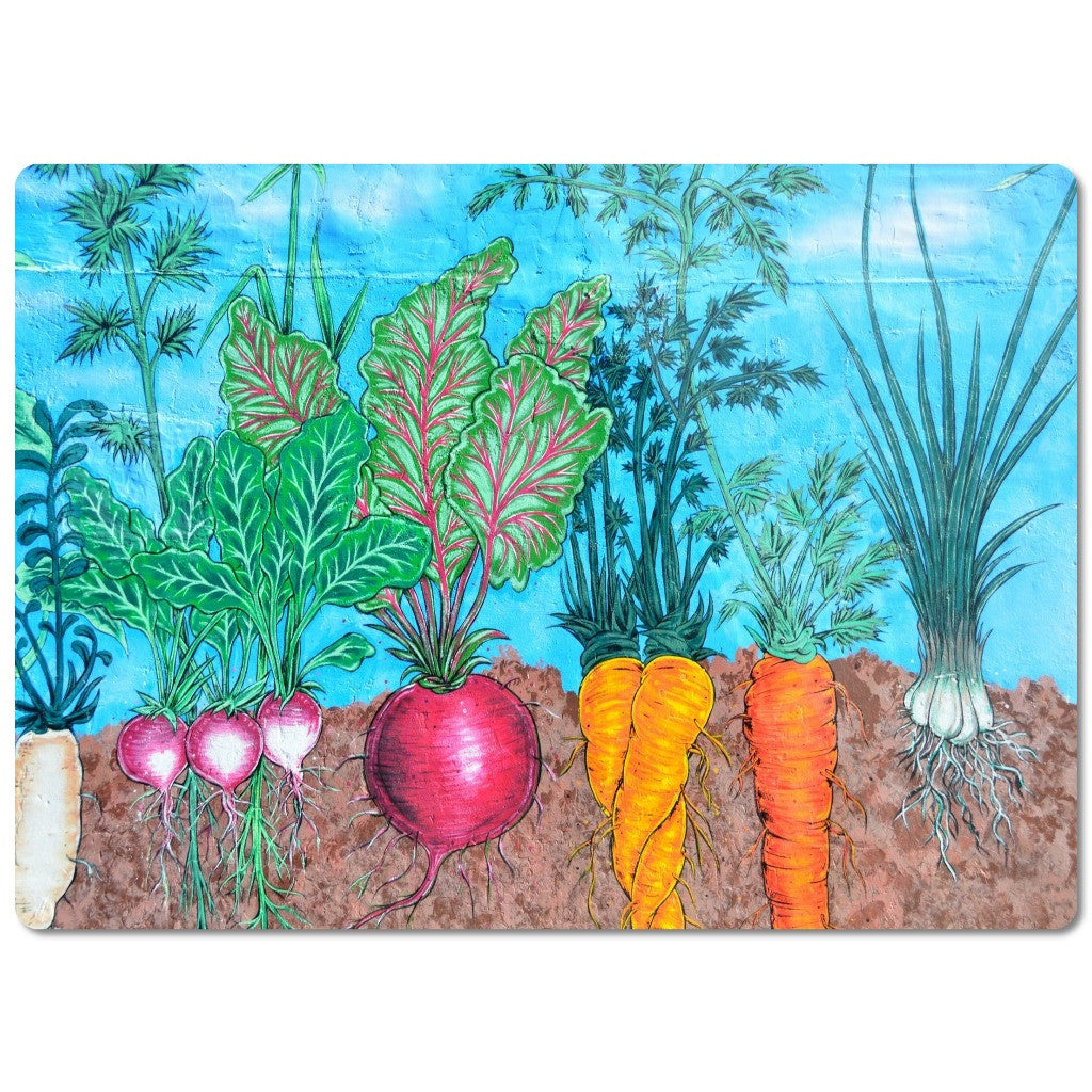"Glass Cutting Board ""Vegetable Garden"""
