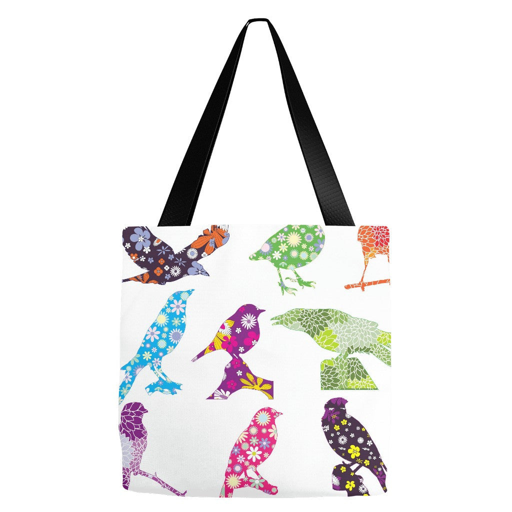 Flower Birds Tote Bag 18 x 18""