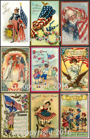 Printable Vintage Patriotic 4th of July Cards Collage Sheet #2  To Download