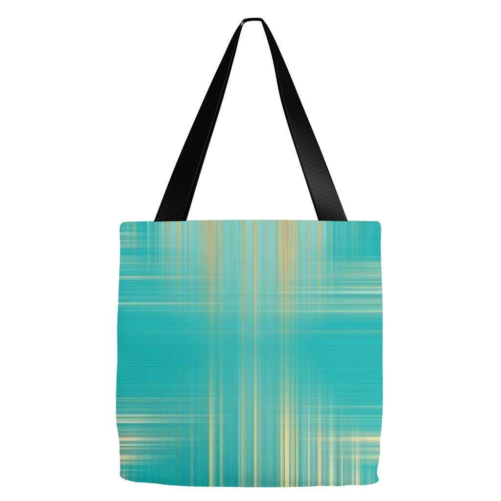 Green and Gold Plaid Print Tote Bag 18 x 18""