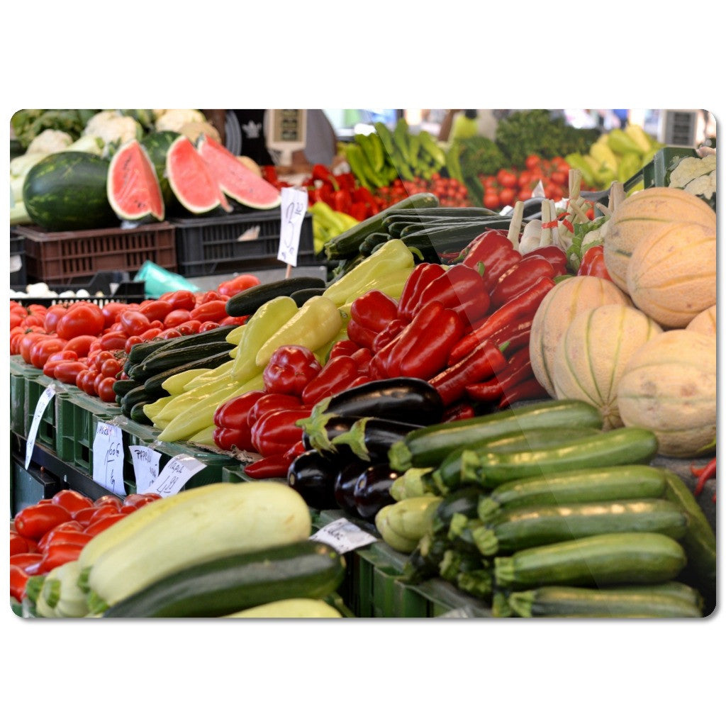 "Glass Cutting Board ""Vegetables"""