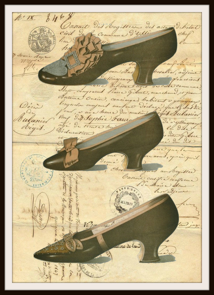 Vintage Shoes on Ephemera Art Print Wall Decor, 8.5 x 11, Reproduction Unframed