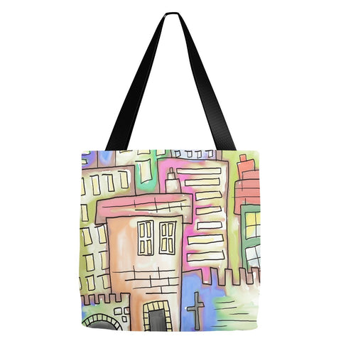 Abstract City Art Tote Bag 18 x 18""