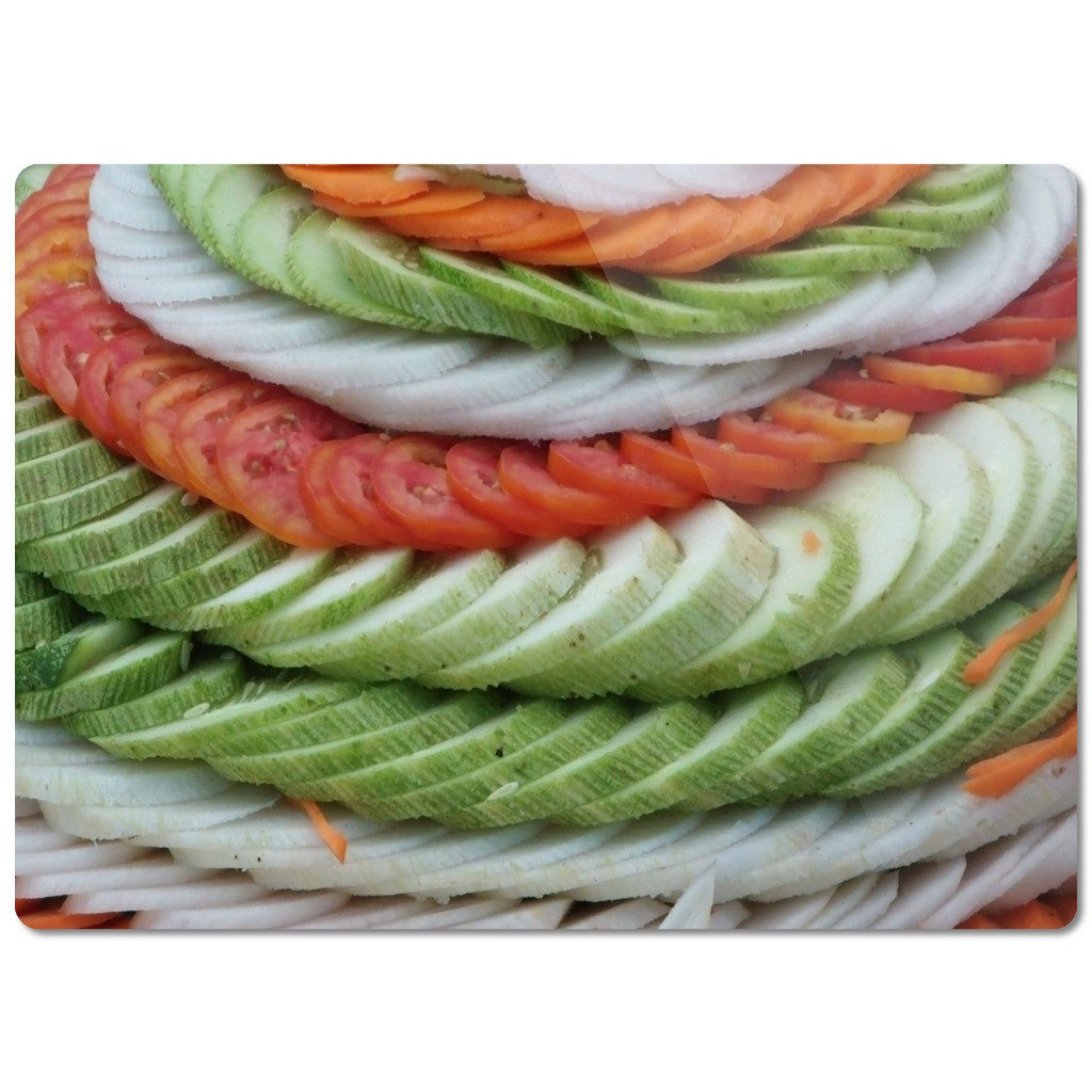 "Glass Cutting Board ""Sliced Vegetables"""