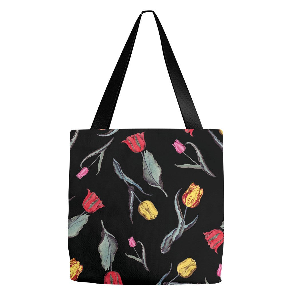 Black Tulips Tote Bag 18 x 18""