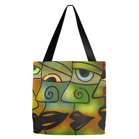 Abstract Faces Tote Bag 18 x 18""
