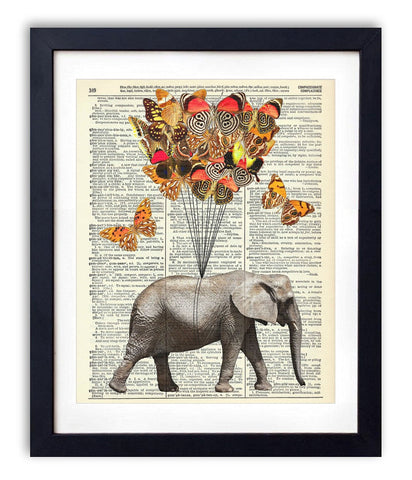 Art Print  Elephant With Butterflies (#1) Upcycled Vintage Dictionary 8 x 10""
