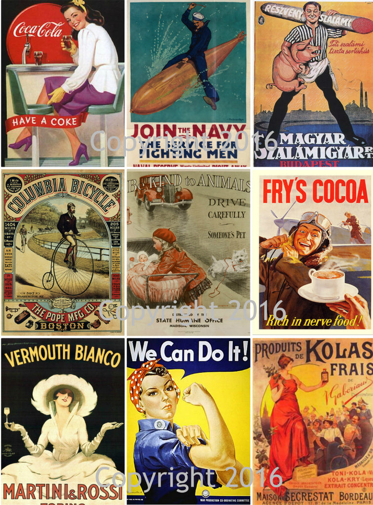 Vintage Ad Poster Images Collage Sheet 102