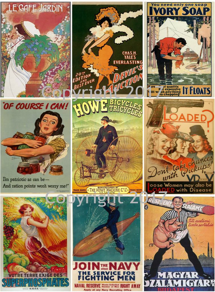 Vintage Ad Poster Images Collage Sheet 103