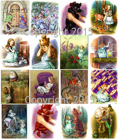 Alice in Wonderland # 2 by John Tenniel   Collage Sheet