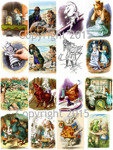 Alice in Wonderland # 1 by John Tenniel   Collage Sheet Instant Digital Download JPG and PDF