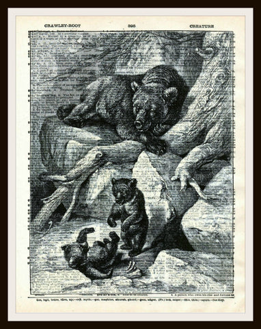 A Family of Bears Vintage Art Print Reproduction Ephemera Dictionary Background Art Poster