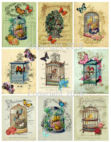 Vintage Ephemera Collage Bird Cages Collage Sheet Squares Instant download