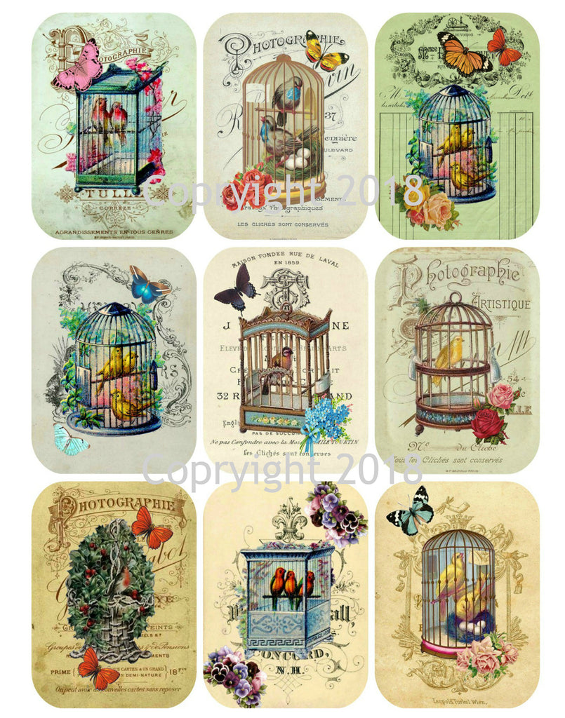 Vintage Ephemera Collage Bird Cages Collage Sheet Rounded Corners Instant download