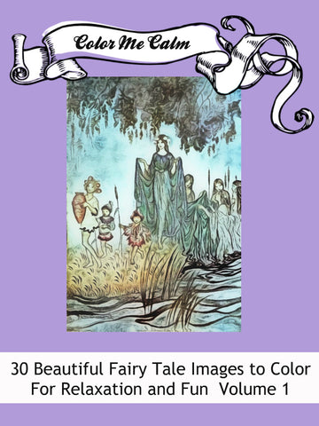 """Color Me Calm""  30 Arthur Rackham Fairy Tale Design Patterns Coloring Book for Adults To Print PDF Digital Download 374"