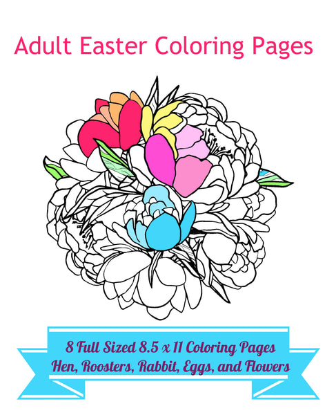 "8 Adult Easter Coloring Pages 8.5 x 11"" PDF Sheets to Color, Adult Coloring, Instant Download"