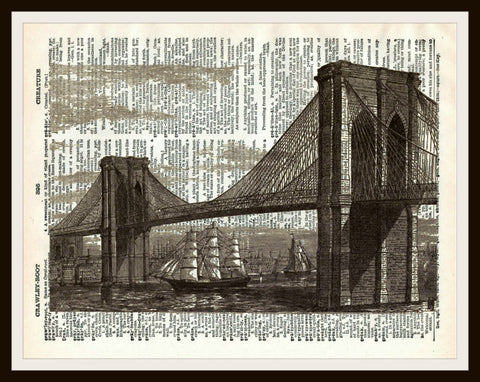 Brooklyn Bridge   Art Print Reproduction Ephemera Dictionary Background Art Poster