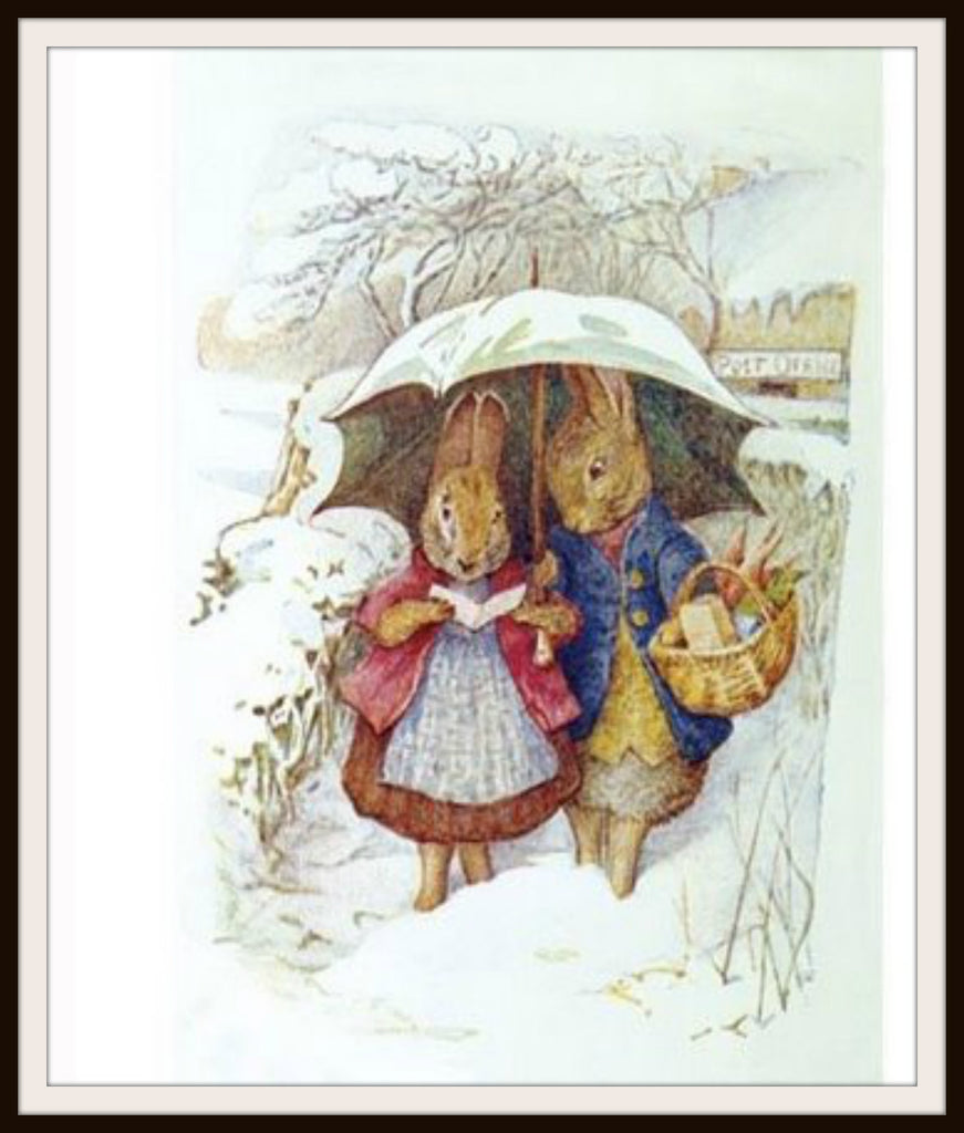 Bunnies in Winter #3 by Beatrix Potter Art Print 8 x 10""