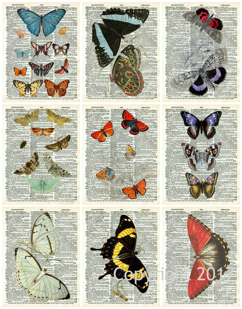 Vintage Butterflies  #106 Collage Sheet