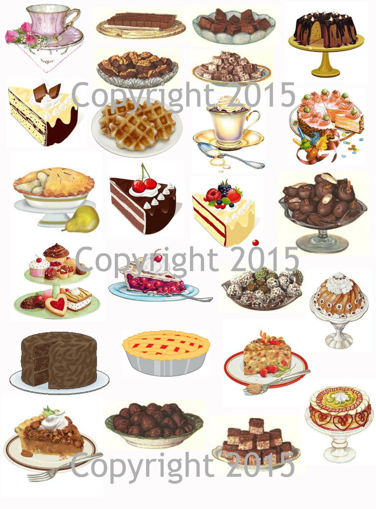 Cakes and Pies Images  Collage Sheet for Decoupage, Altered Art, Scrapbooking
