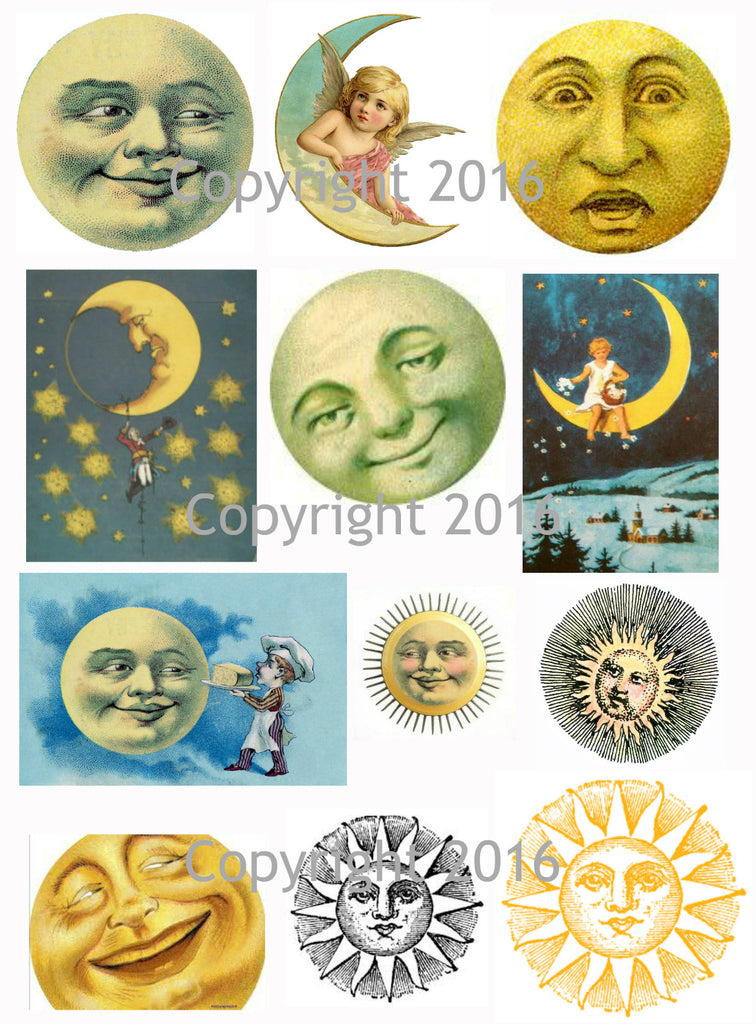 Celestial Man on the Moon Images Collage Sheet #101