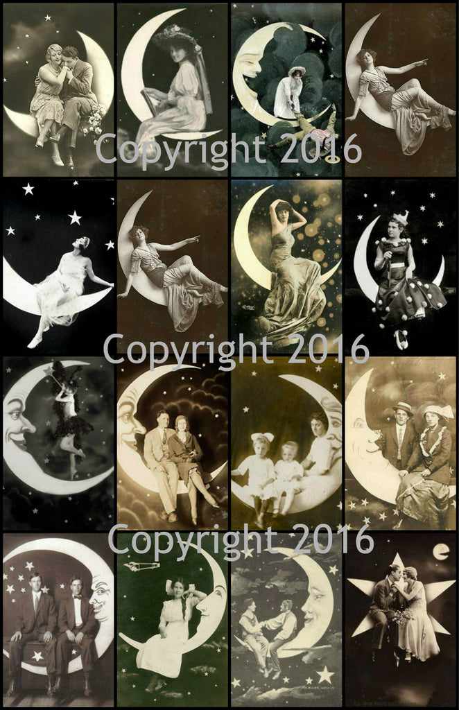 Celestial Man on the Moon Images Collage Sheet #102